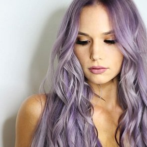 Model with purple hair